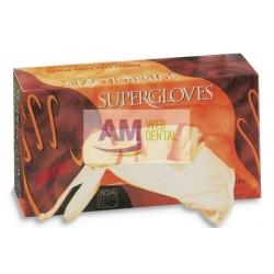 GUANTES DE LATEX SUPERGLOVE SIN POLVO -- SUPERMAX